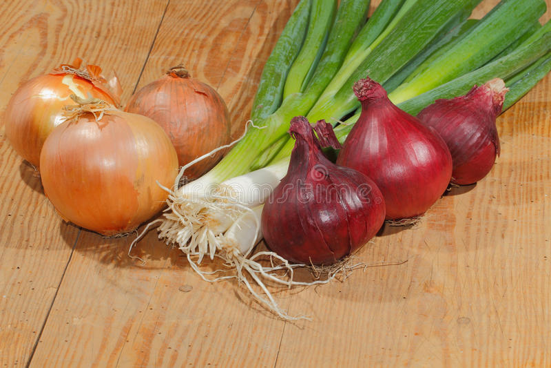 De lenteuien, uien, groenten royalty-vrije stock foto