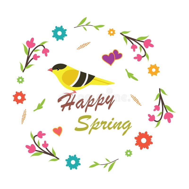 De lentevectoren met een vogel stock fotografie