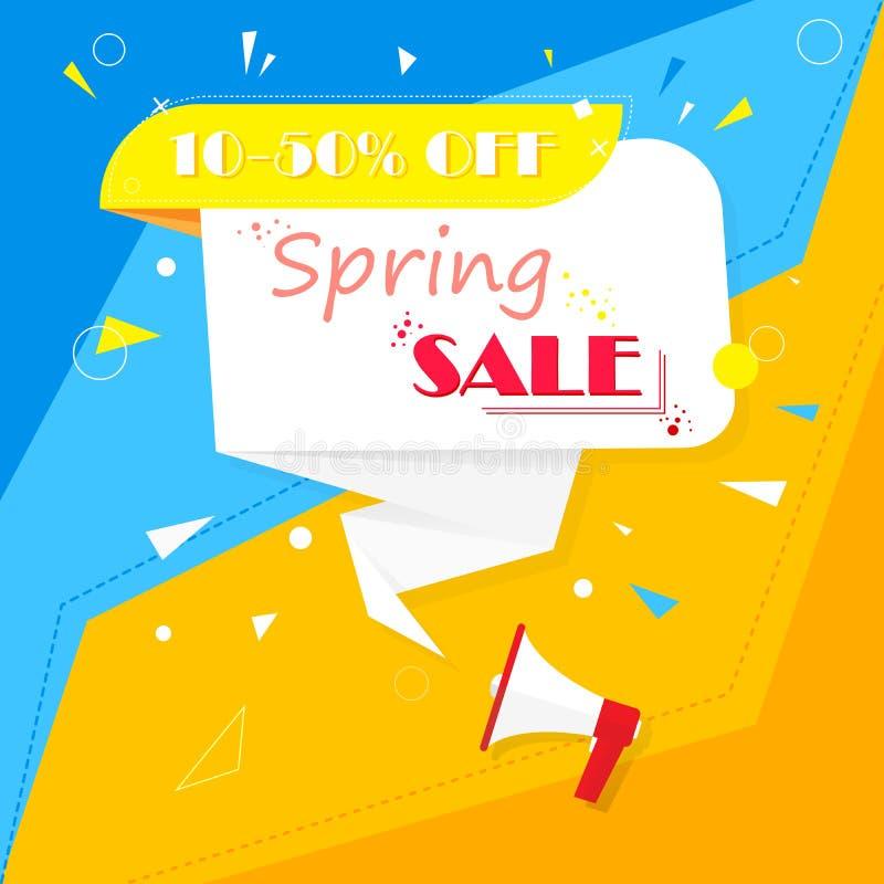 De lenteverkoop Banner op een kleurrijke achtergrond Geel, blauw, rood, wordt het wit verweven met elkaar Koele idee en suggestie vector illustratie