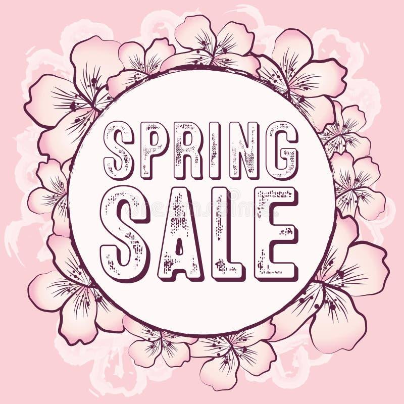 De lenteverkoop grafisch met gevoelige roze bloemen royalty-vrije illustratie