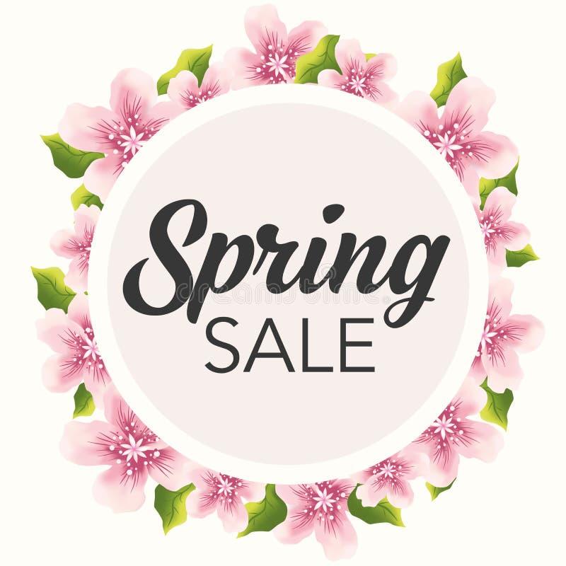 De lenteverkoop grafisch met gevoelige roze bloemen stock illustratie