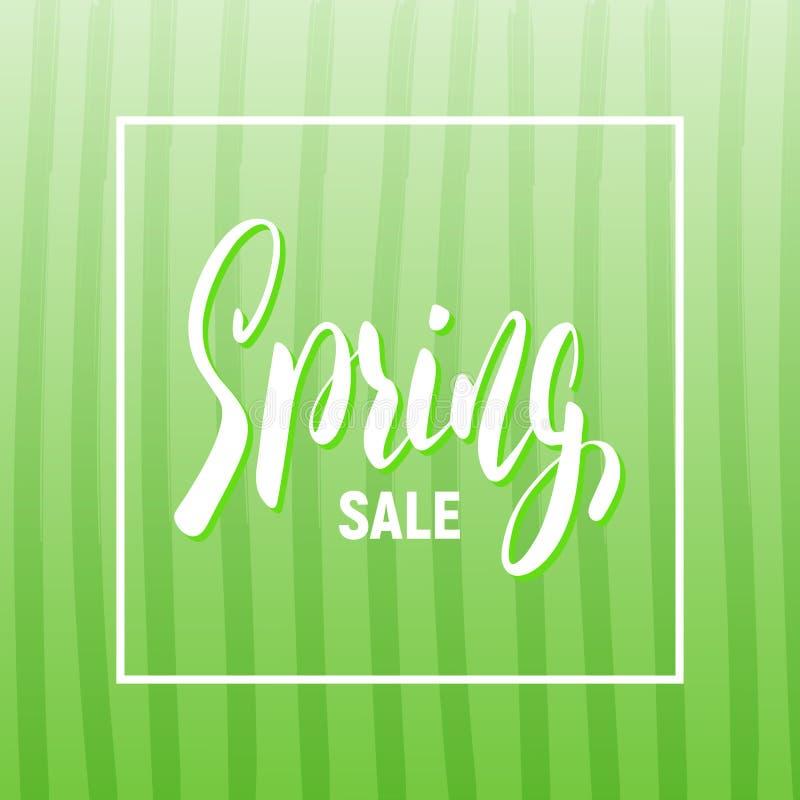 De lenteverkoop Seizoengebonden banner met in gestreepte achtergrond en het van letters voorzien vector illustratie