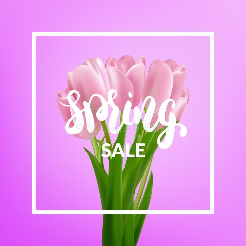 De lenteverkoop Van de tulpenboeket en lente kalligrafie royalty-vrije illustratie