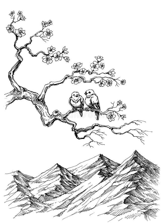 De lentevogels royalty-vrije illustratie