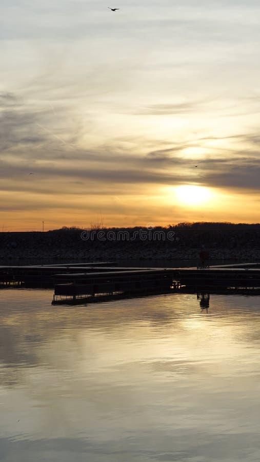De lentezonsondergang stock foto's