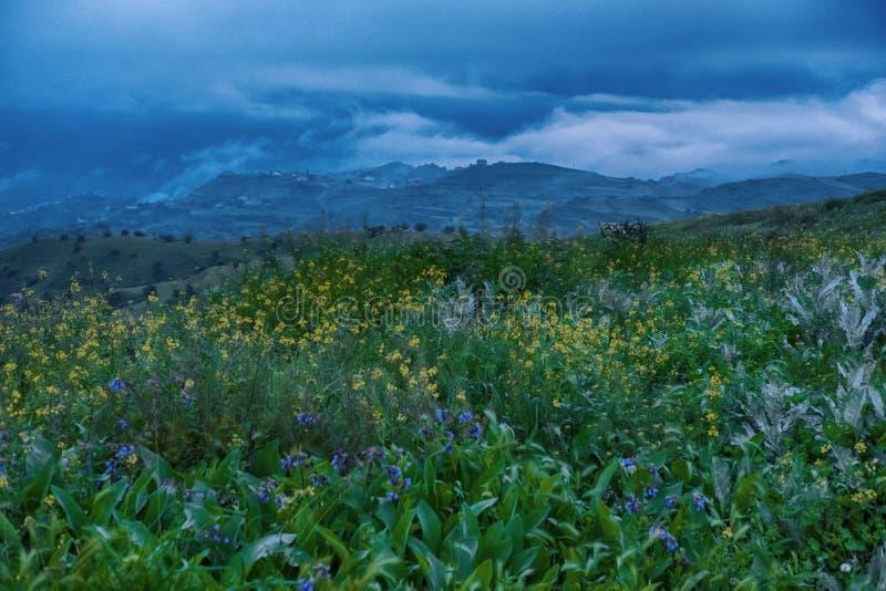 De lentezonsopgang in de heuvels stock afbeelding