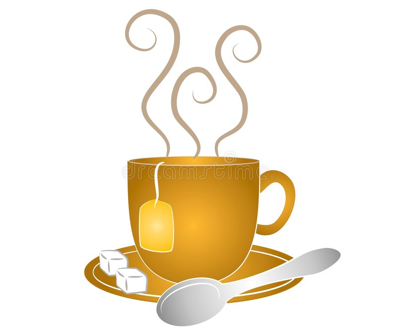 De Lepel en de Suiker van de Kop van de thee royalty-vrije illustratie