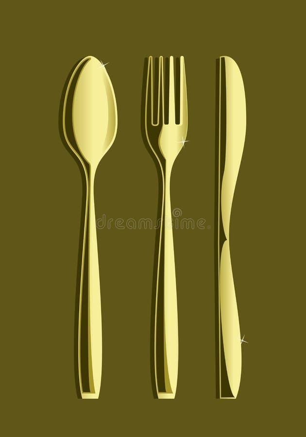 De Lepel Knife_Set 2 van de vork vector illustratie