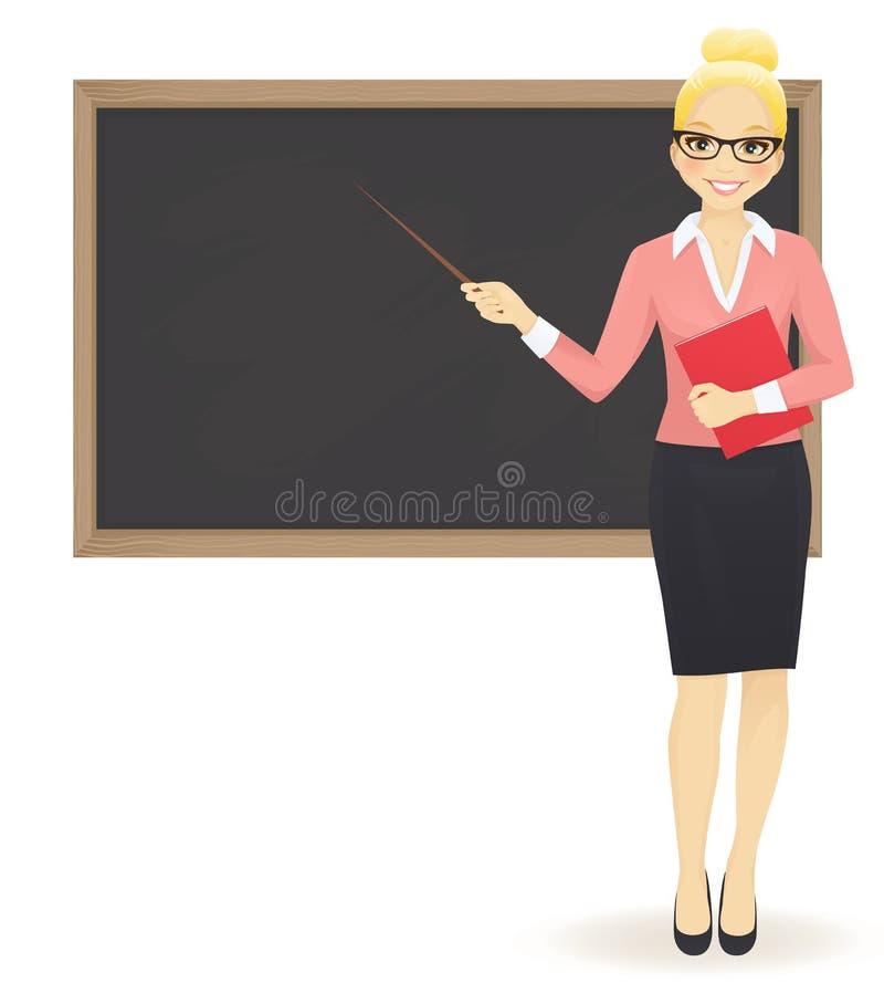 De leraar bij bord royalty-vrije illustratie