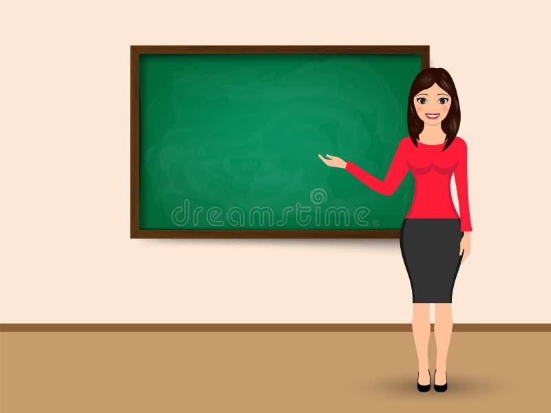 De leraar bij bord met exemplaar het ruimte tonen Vector illustratie stock illustratie