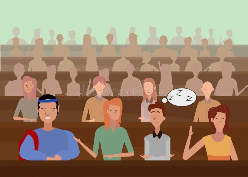 De leraar bij de universiteit onderwijst studenten bureaus, kennis, studenten vector illustratie