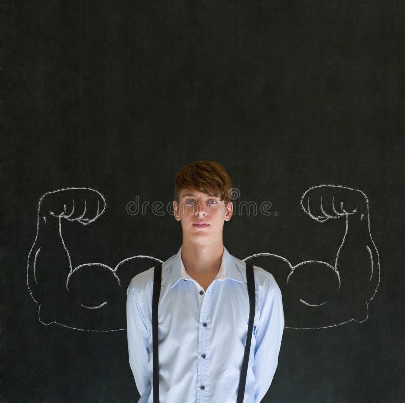 Mens met spieren van het krijt de gezonde sterke wapen voor succes royalty-vrije stock foto's