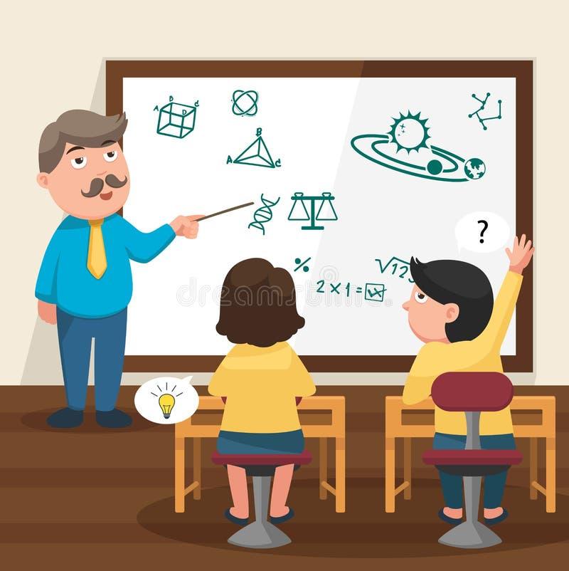 De leraar die zijn studenten in de klaslokaalillustratie onderwijzen stock illustratie