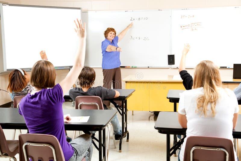 De Leraar en de Klasse van de middelbare school stock fotografie