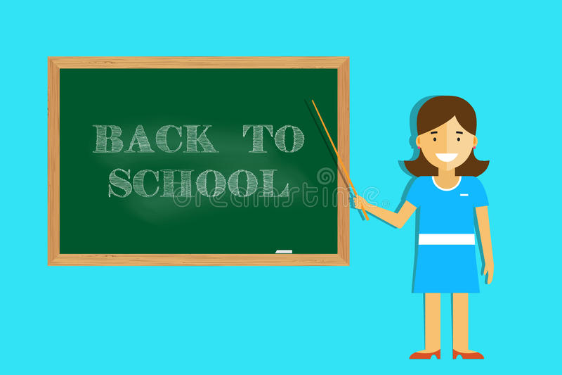 De leraar heet studenten terug naar school welkom stock illustratie