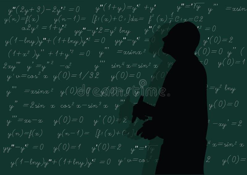De leraar schrijft formules bij de raad stock illustratie