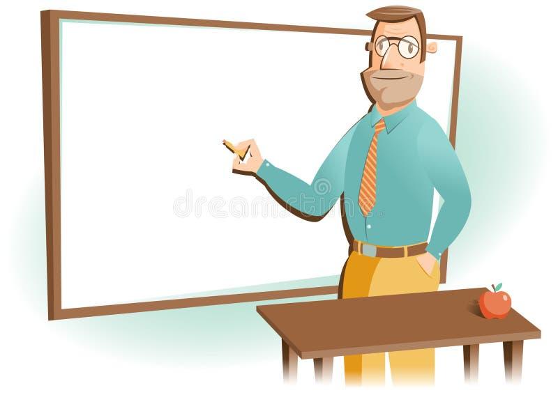 De leraar van de school met whiteboard stock illustratie