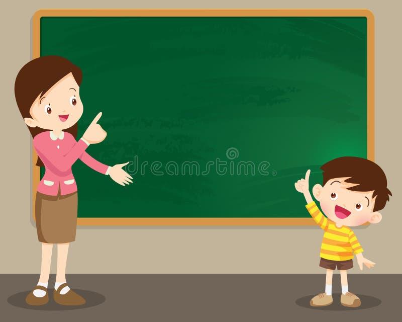 De leraarsvrouw en studen jongen status voor bord stock illustratie