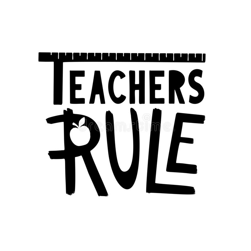 De leraren beslissen gift Hand getrokken school het van letters voorzien uitdrukking vector illustratie