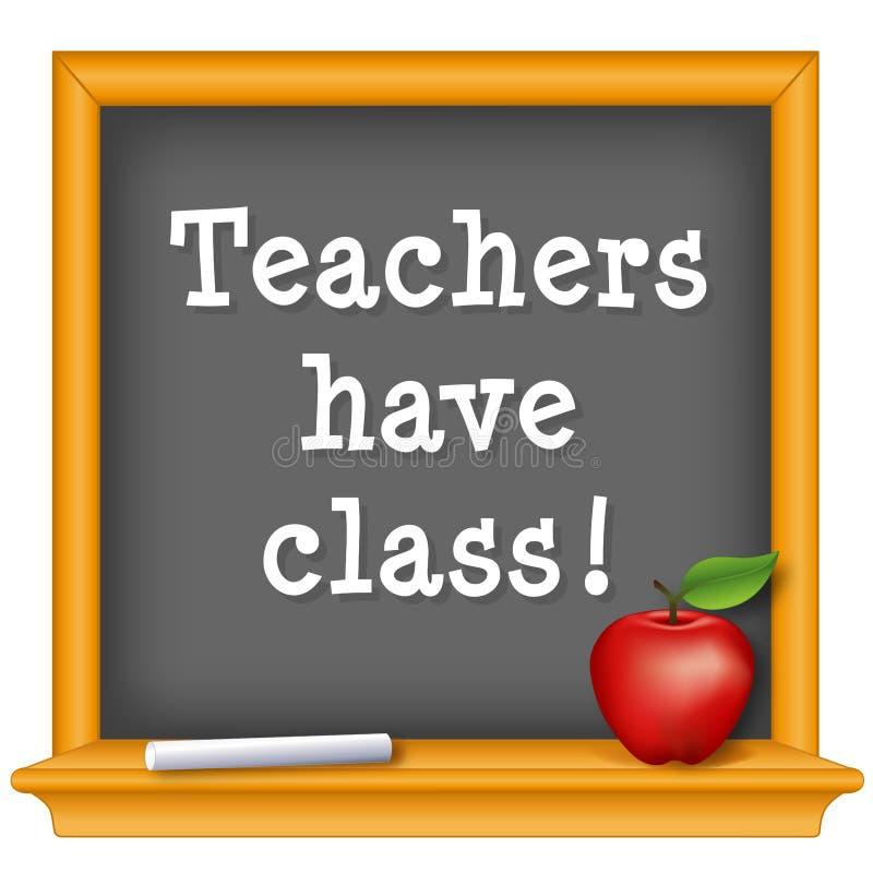 De leraren hebben klasse! Rode appel, krijt, bord Vier Leraar Day, nationale feestdag, Dinsdag, eerste volledige week van Mei royalty-vrije illustratie