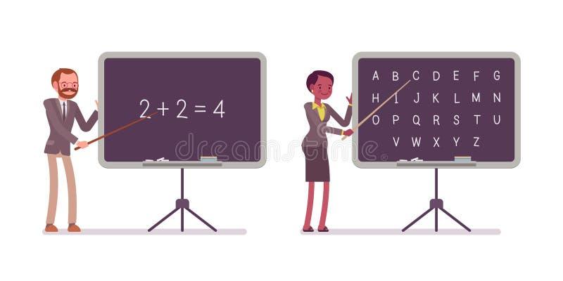 De leraren onderwijzen wiskunde en alfabet op het bord royalty-vrije illustratie