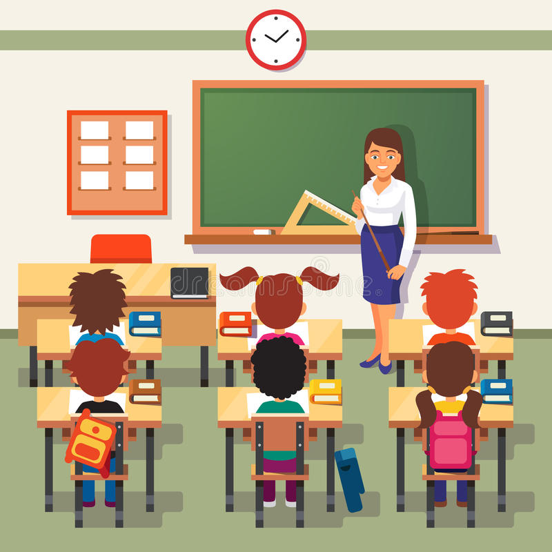 De les van de school Kleine studenten en leraar stock afbeeldingen