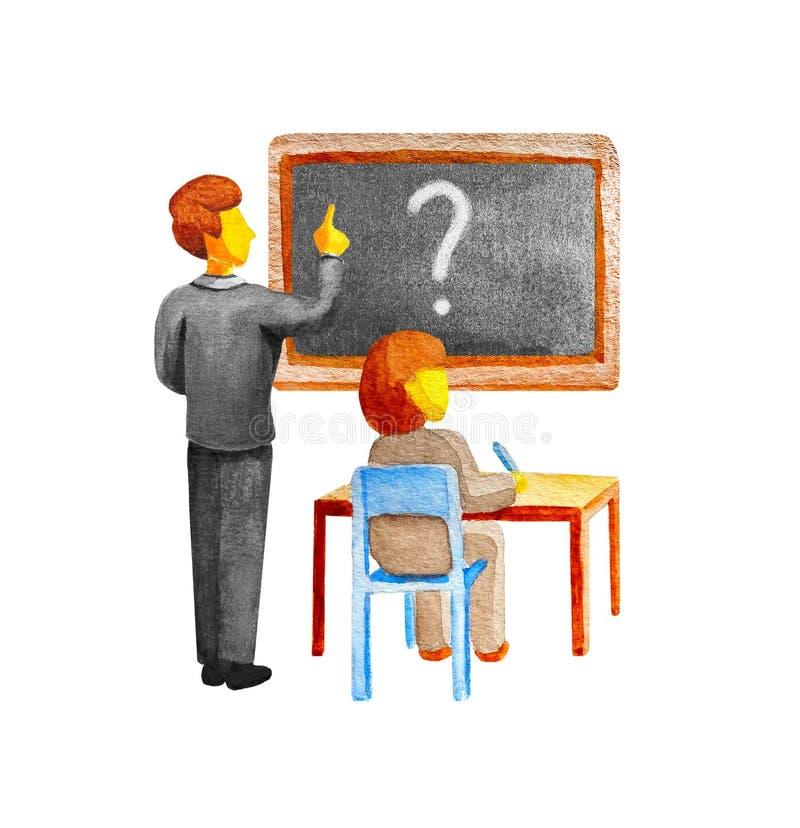 De les van de school De leraar toont een bord met een vraagteken De student zit bij de lijst als voorzitter en schrijft een pen T vector illustratie