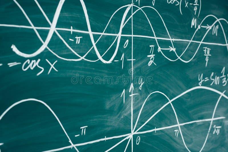 De les van de schoolwiskunde trigonometrie De grafieken van de bordfunctie stock fotografie