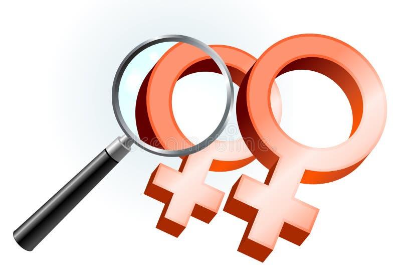 De lesbische Symbolen van het Geslacht onder Vergrootglas vector illustratie