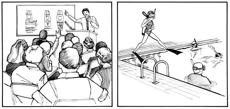 De lessen van de scuba-uitrusting - pool en klasse royalty-vrije illustratie