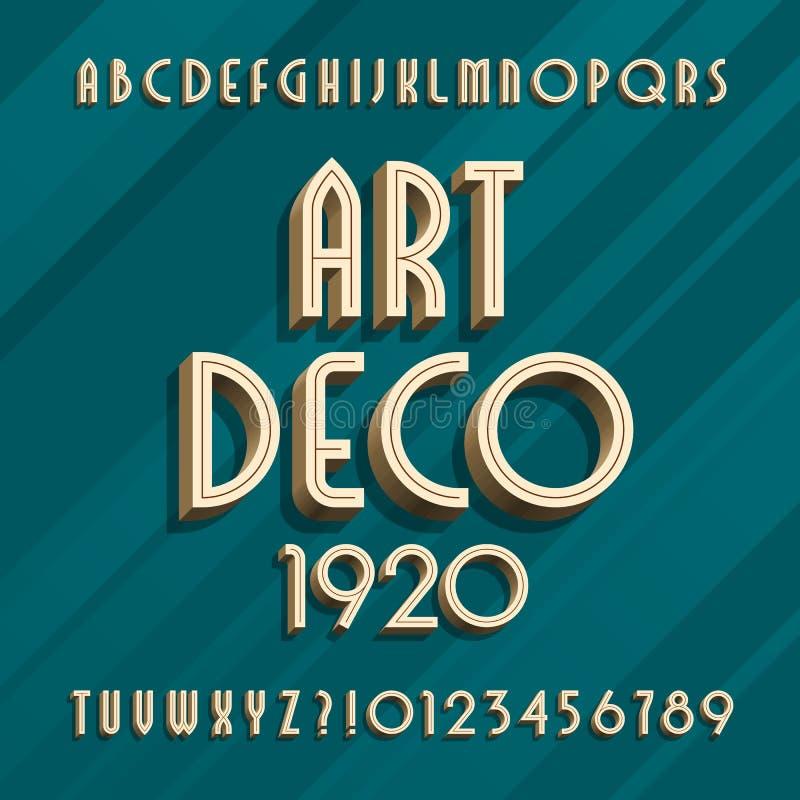 De lettersoort van het art decoalfabet 3D effect type letters en getallen stock illustratie