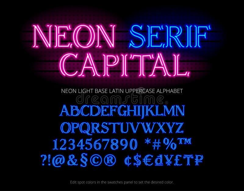 De lettersoort van het T.L.-buisalfabet Lichte serif van de neonkleur letters, getallen, speciale symbolen, karakters en muntteke vector illustratie