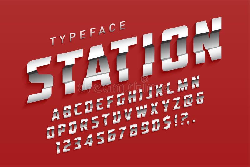 De lettersoortontwerp van de post futuristisch vertoning, alfabet, sport stock illustratie