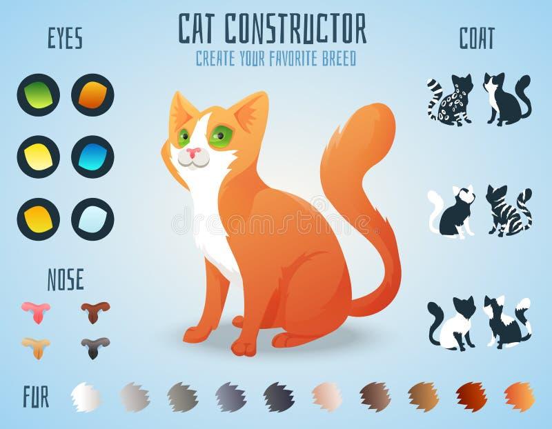 De leuke aannemer van het kattenras U kunt uw creëren stock illustratie