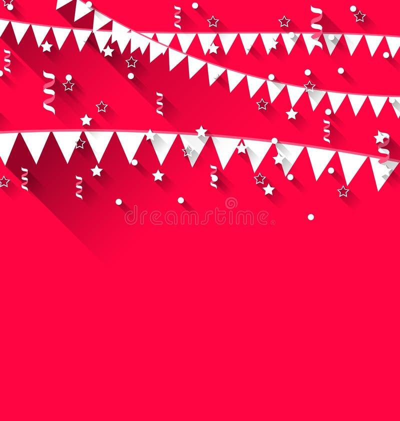 De leuke achtergrond met het hangen van wimpels voor Carnaval-partij tren binnen vector illustratie