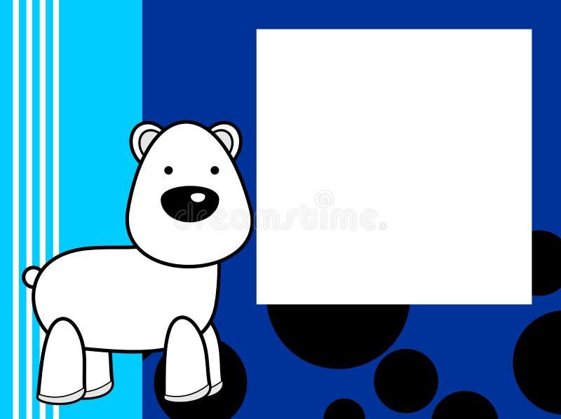 De leuke achtergrond van de het beeldverhaalomlijsting van de pluche ijsbeer royalty-vrije illustratie