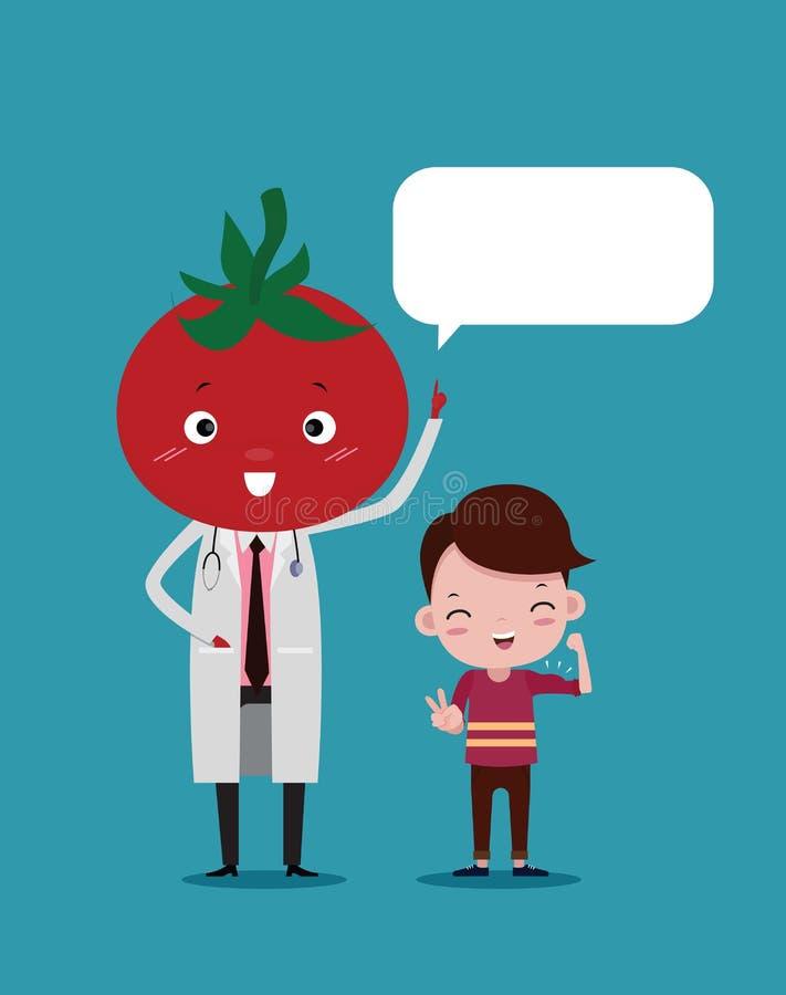 De leuke Arts heeft het gezicht van tomaat en het leuke kind glimlacht aan sterk, Concept het eten van groenten royalty-vrije illustratie