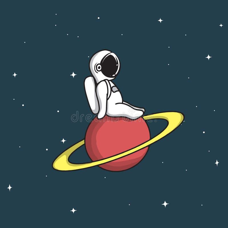 De leuke astronaut zit op Saturn stock illustratie