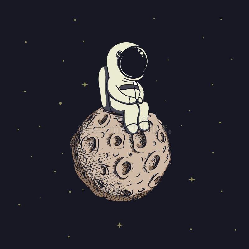 De leuke baby-astronaut zit op maan stock illustratie