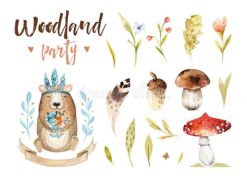 De leuke baby draagt dierlijke kinderdagverblijf geïsoleerde illustratie voor kinderen De bostekening van waterverfboho, watercol stock illustratie