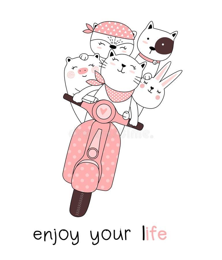De leuke babydieren met motorfietsenbeeldverhaal overhandigen getrokken stijl, voor druk, kaart, t-shirt, banner, product Vector  stock illustratie