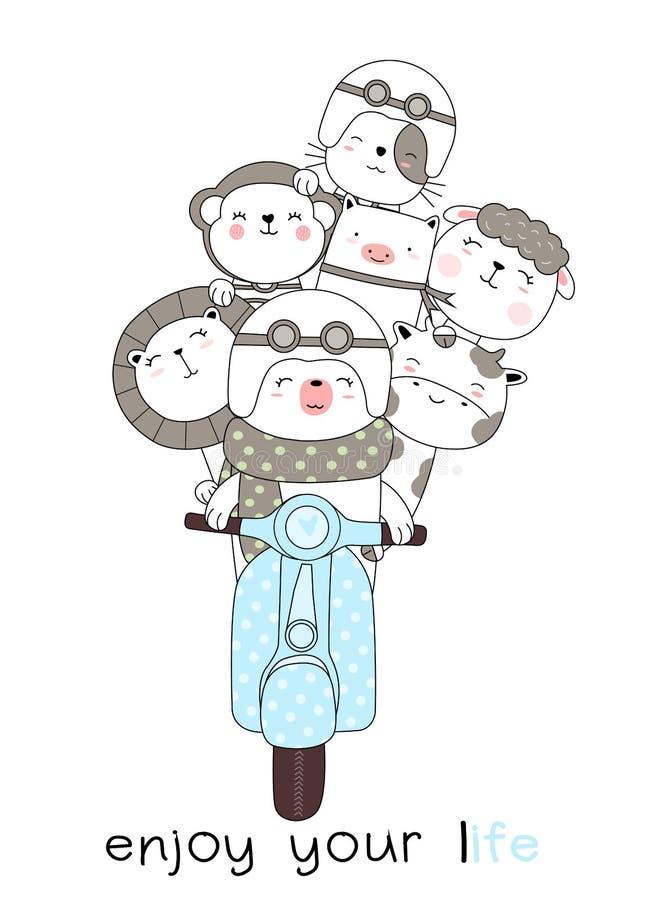 De leuke babydieren met motorfietsenbeeldverhaal overhandigen getrokken stijl, voor druk, kaart, t-shirt, banner, product Vector  vector illustratie
