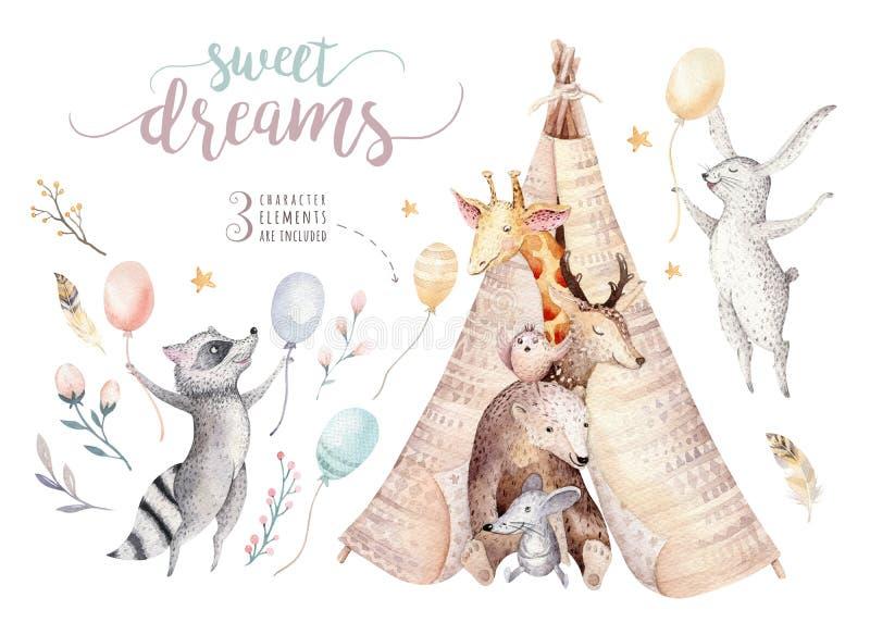 De leuke babygiraf, muis van het herten de dierlijke kinderdagverblijf en draagt, wasbeer en konijntje geïsoleerde illustratie vo stock illustratie