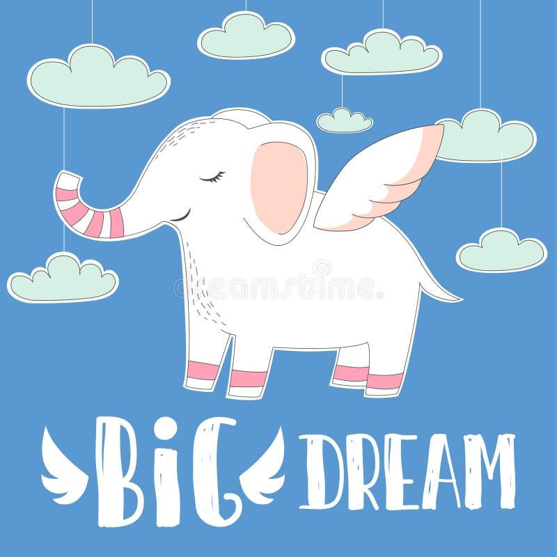 De leuke babyolifant met vleugels op hemel betrekt achtergrond Hand getrokken illustratie groot Droomcitaat voor babyt-shirt, des vector illustratie
