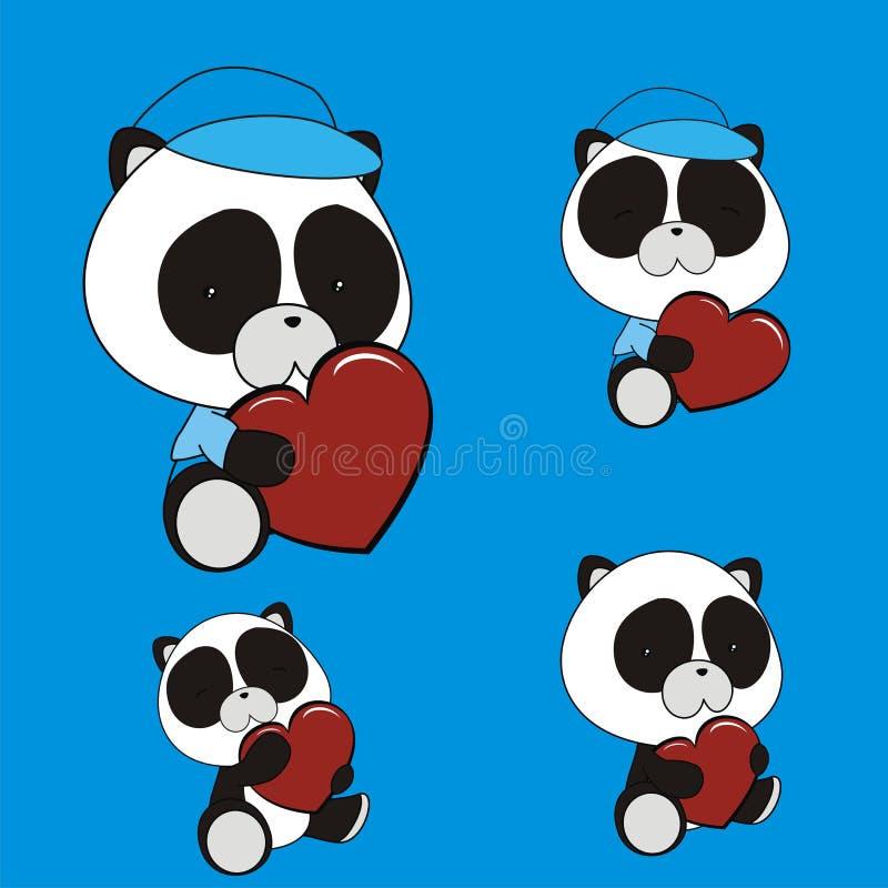 De leuke babypanda draagt houdend de liefdeinzameling van het hartbeeldverhaal royalty-vrije illustratie