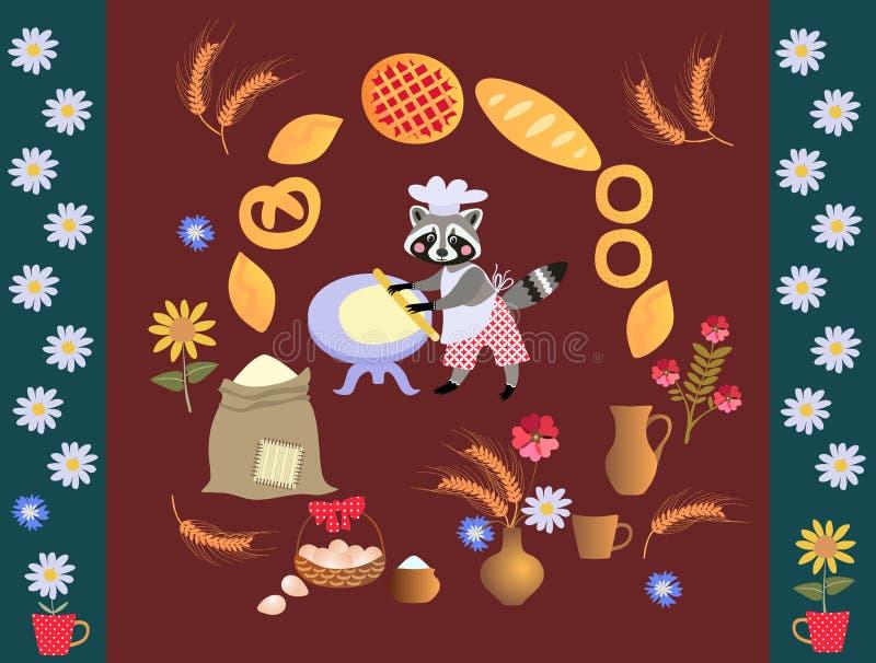 De leuke bakker van de beeldverhaalwasbeer met deeg en deegrol Kaart, affiche royalty-vrije illustratie