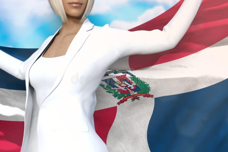 De leuke bedrijfsdame houdt de vlag van de Dominicaanse Republiek terug in handen achter haar op de blauwe hemelachtergrond - mar royalty-vrije illustratie