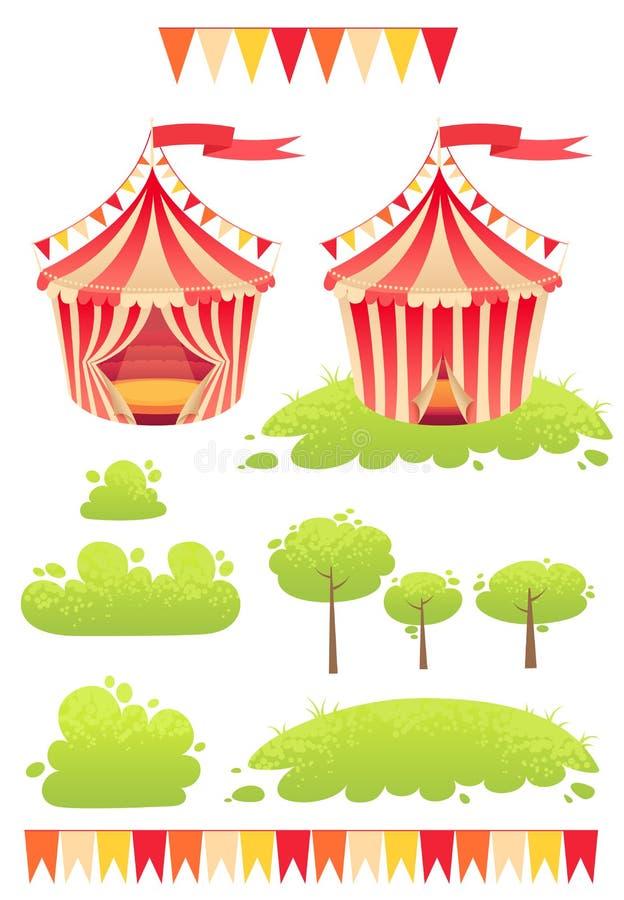 De leuke beeldverhaal vectortent toont circus royalty-vrije illustratie