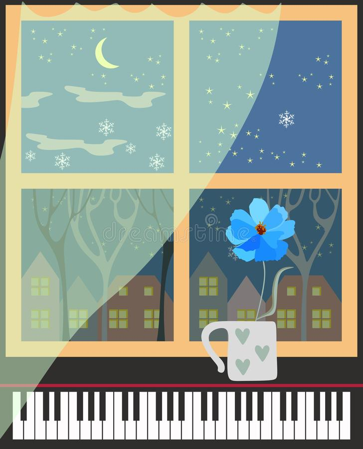 De leuke beeldverhaal verticale kaart met het landschap van de de winterstad, het transparante gordijn, de pianotoetsenborden en  vector illustratie