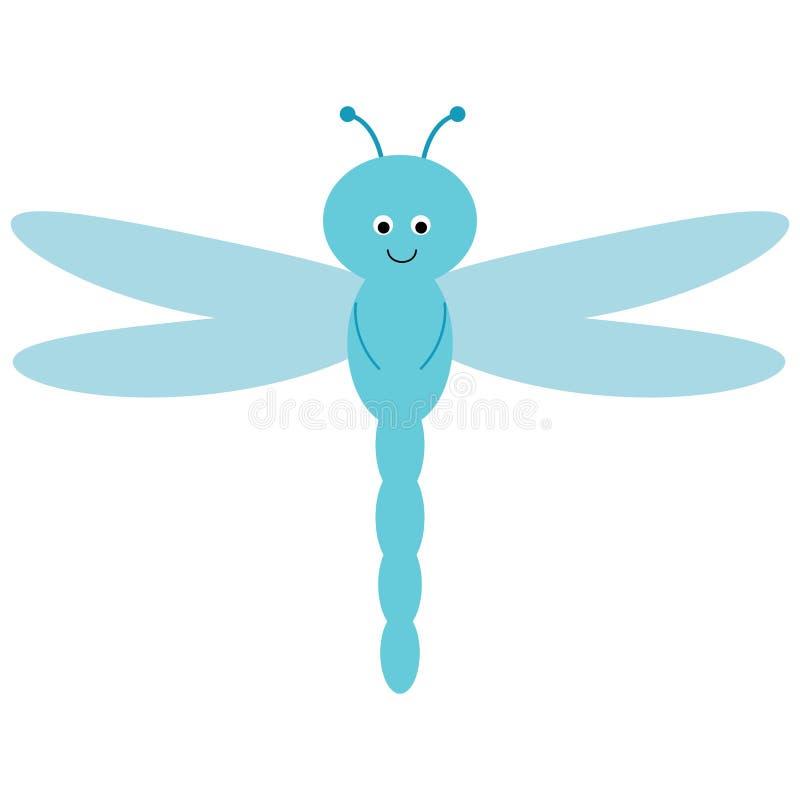 De leuke beeldverhaallibel vliegt Vectorbeeld voor kinderen Transparante blauwe vleugels Een mooi insect vector illustratie